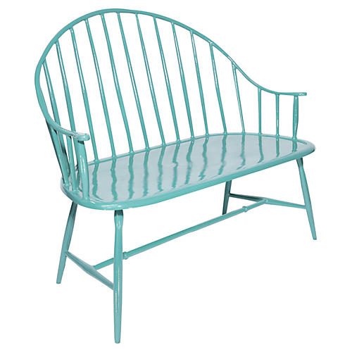 Kira Outdoor Windsor Bench, Turq