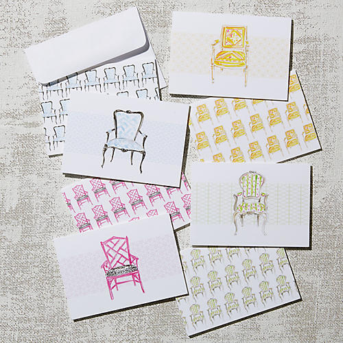 Asst. of 8 Antique Chairs Note Cards