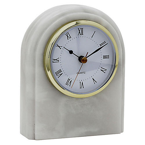 "6"" Wardlow Desk Clock, Pearl White"