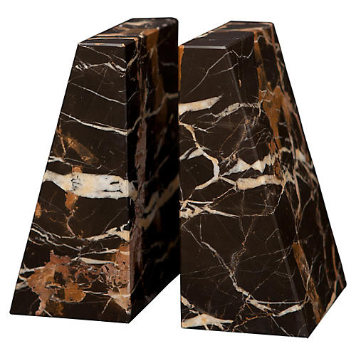 "6"" Cutler Bookends, Black/Gold"