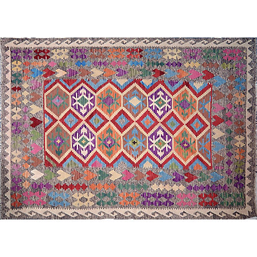 "6'9""x9'7"" Maimana Handwoven Kilim, Purple/Gray"