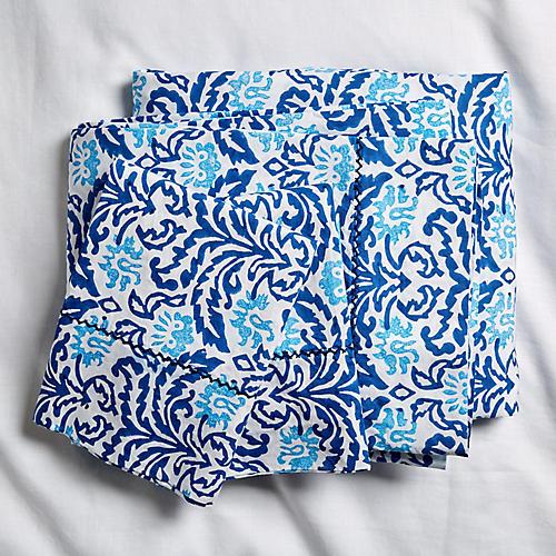 Damask Sheet Set, Bright Blue