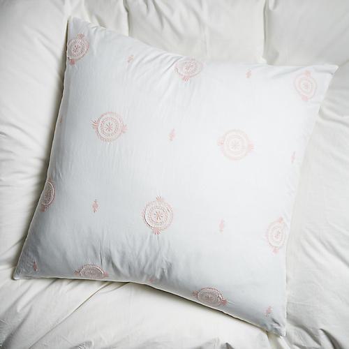 Mimosa Euro Sham, White/Pink