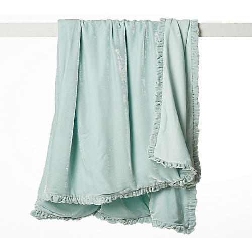 Rachel Velvet Throw, Teal