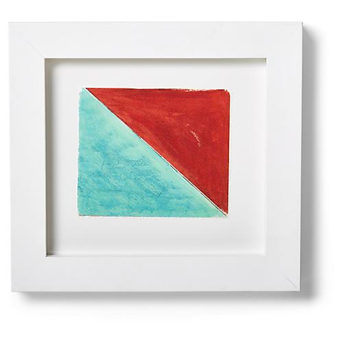 """Nautical Framed """"O"""" Flag Signal Print, Sky/Red"""
