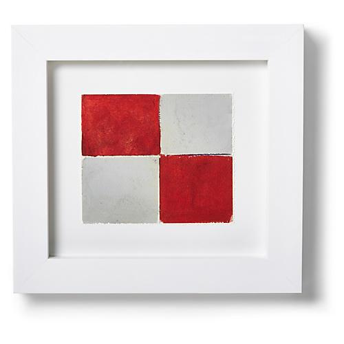 """Nautical Framed """"U"""" Flag Signal Print, Red/White"""