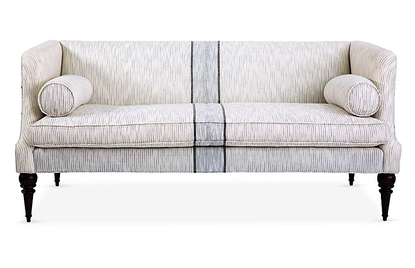 Turner Settee, White/Navy