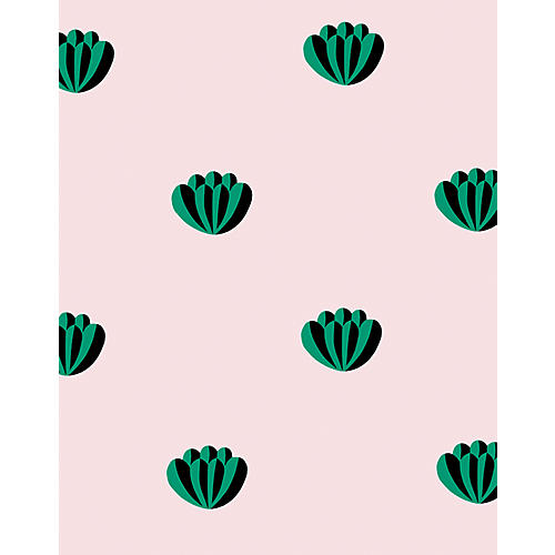 Clare V Lotus Wallpaper, Emerald/Shell