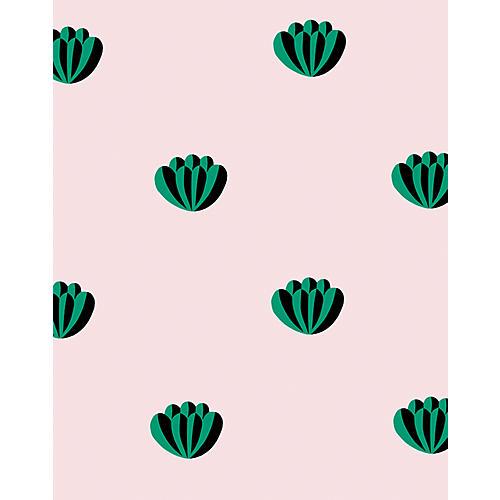 Clare V Lotus Wallpaper, Emerald/Shell