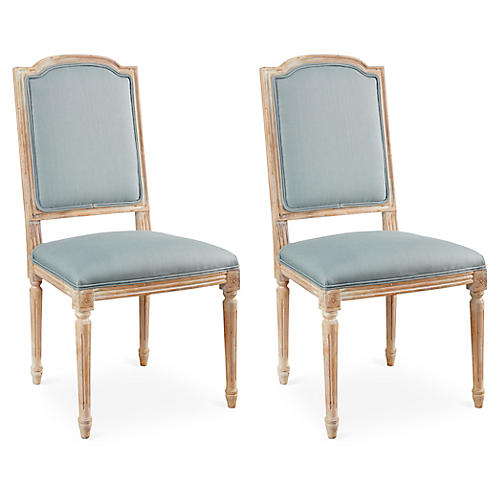 Spa Blue Linen Side Chairs, Pair