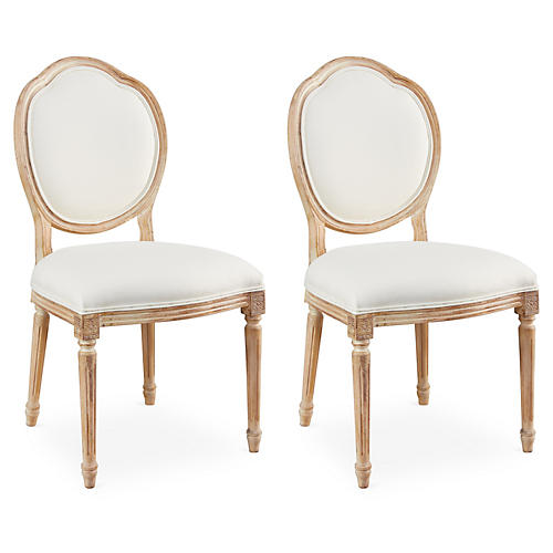 Off-White Linen Louis Side Chairs, Pair