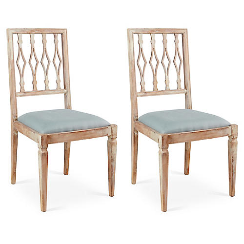 S/2 Avice Side Chairs, Spa Linen