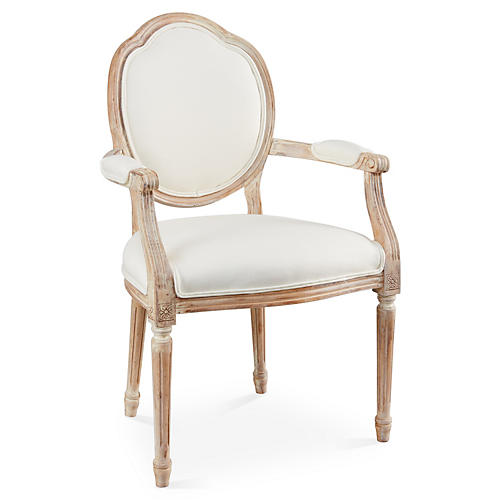 Louis Armchair, Off-white Linen