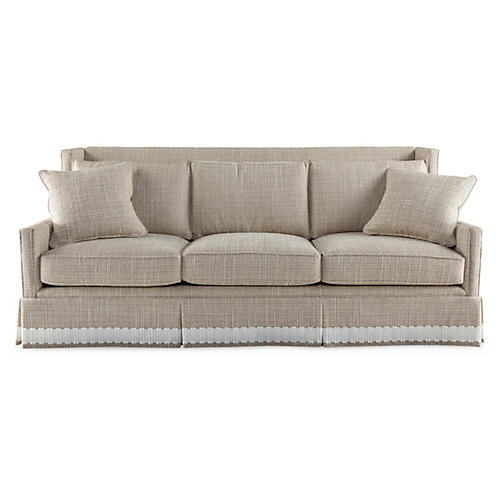Pacific High-Back Sofa, Cream Chenille