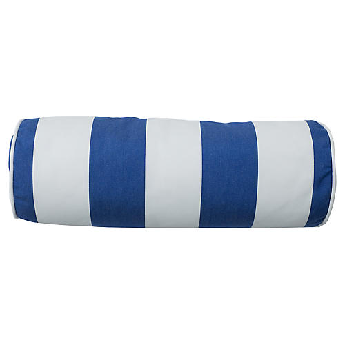 Coco Outdoor Bolster Pillow, Cobalt/White