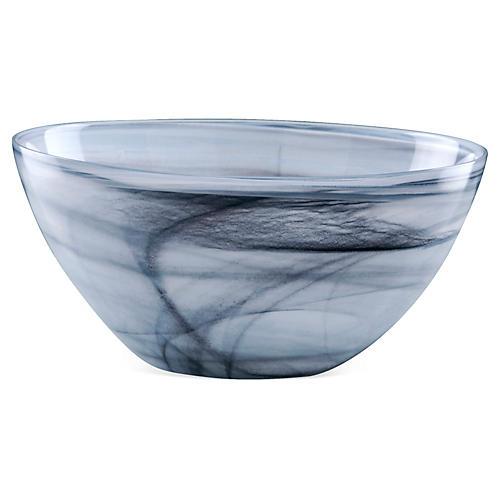 Large Polished Glass Bowl, Gray