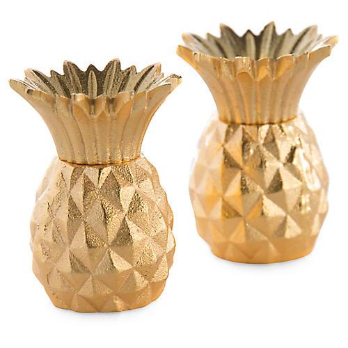 S/2 Pineapple Salt & Pepper Set, Gold