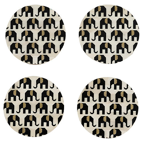 S/4 Elephant Coasters, Black/White