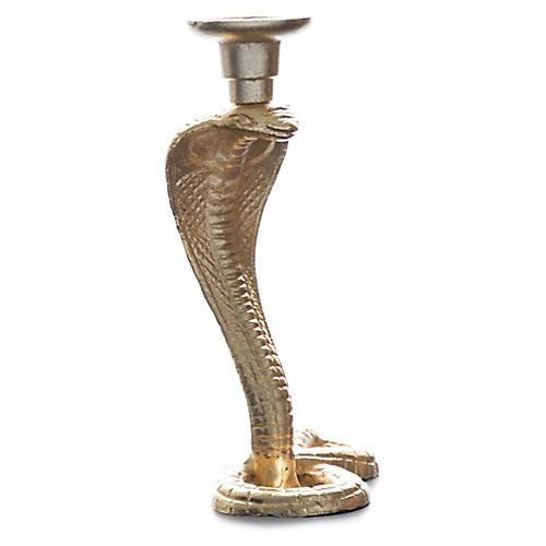 """9"""" Cobra Snake Candlestick, Brass"""