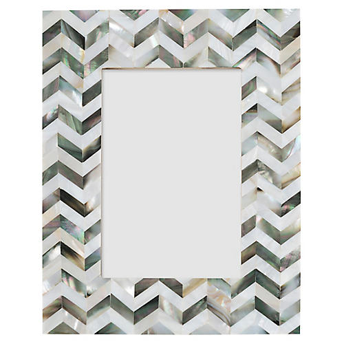 4x6 Prince Chevron Picture Frame, Pearl