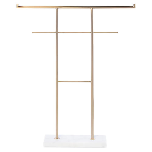 Bow Jewelry Stand, Brass/White