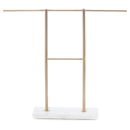 Shelton Double-Bar Jewelry Stand, Brass/White
