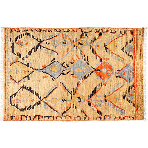 "6'1""x9'3"" Tullu Rug, Orange/Light Blue"