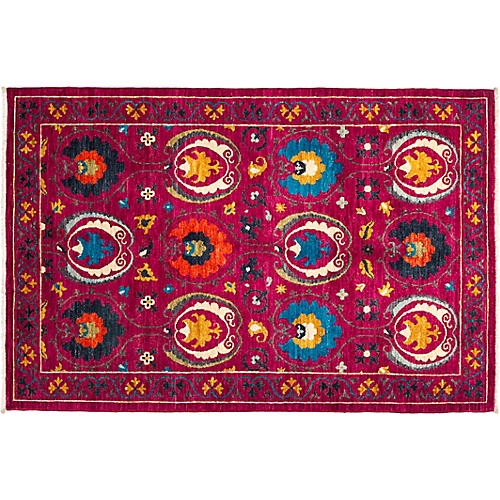 "4'2""x6'5"" Suzani Rug, Purple"