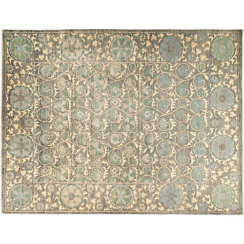 "9'2""x12' Suzani Rug, Multi/Green"