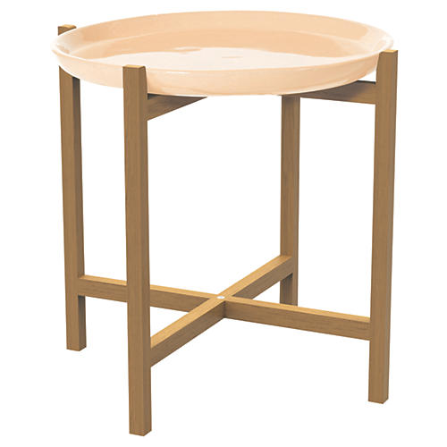 Azar Ceramic/Teak Side Table, Beige