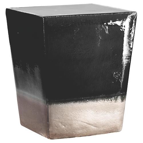 Tacitus Square Cube Stool, Black