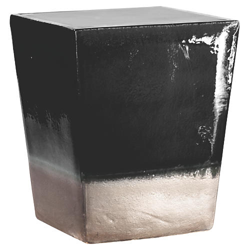 Tacitus Square Cube Stool, Black