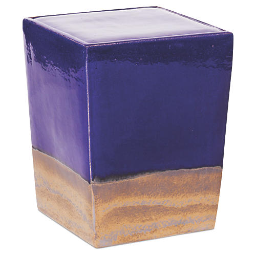 Tacitus Square Cube Stool, Navy/Metallic