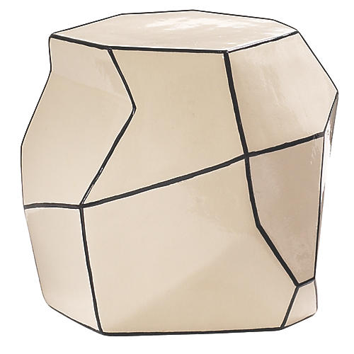 Geo Outdoor Side Table, White