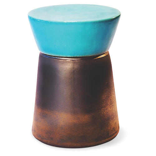 Cork Outdoor Side Table, Turquoise