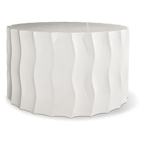 Wave Wide Concrete Side Table, Pearl