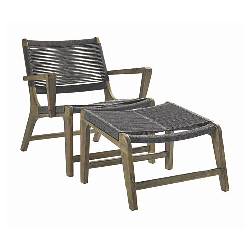 Asst. of 2 Oceans Outdoor Chair & Ottoman, Gray