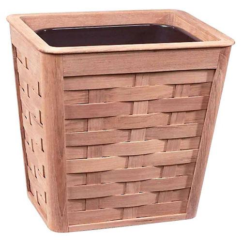 Woven Wastebasket w/ Insert, Teak