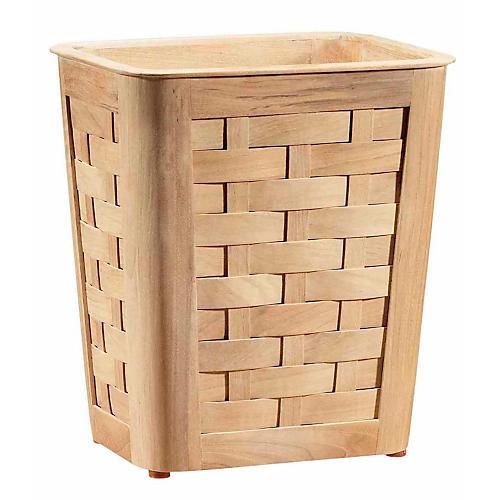 Small Woven Wastebasket w/ Insert, Teak