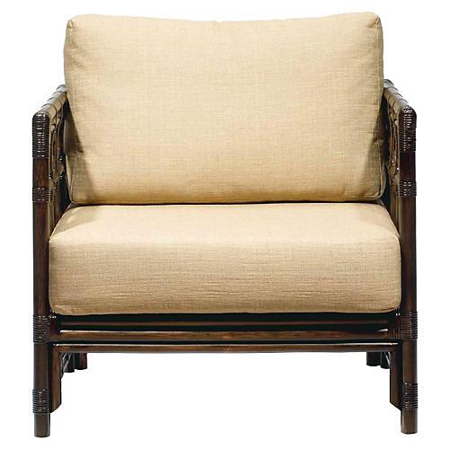 Eloise Rattan Lounge Chair, Wheatberry