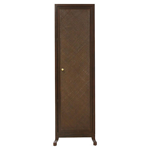 Annabel Tall Rattan Cabinet, Hazelnut