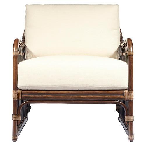 Ella Rattan Lounge Chair, Cinnamon/Ivory