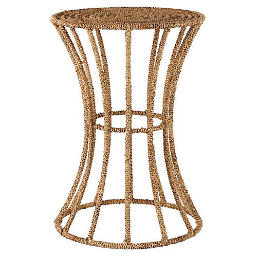 "Luna 14"" Round Jute Side Table, Natural"