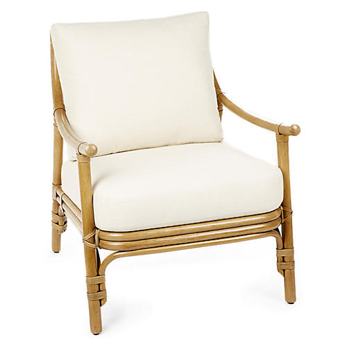 Cecilia Lounge Chair, Nutmeg/Ivory
