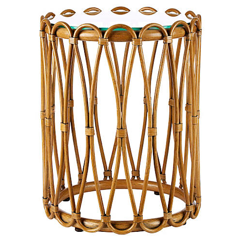 Ella Rattan Side Table, Cinnamon