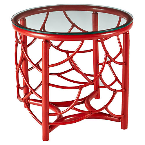 """Dorian 22"""" Round Rattan Side Table, Red"""