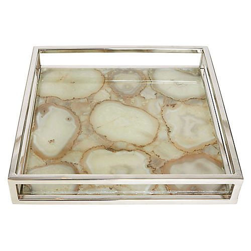 "12"" Shanghai Agate Tray, Natural"