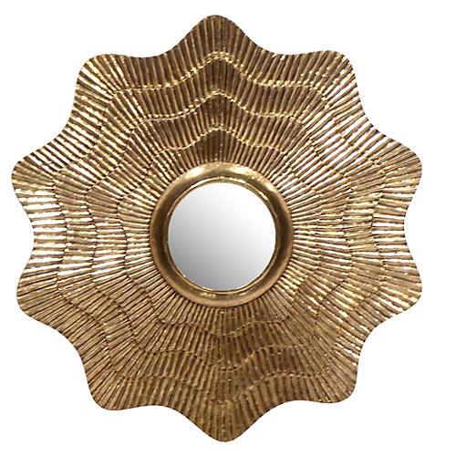 """Sydney 36"""" Mod Aubrey Clad Mirror, Gold"""