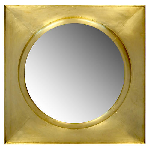 "37"" Clad Square Mirror, Gold"