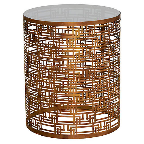 Sydney Mod Mirrored Side Table, Gold